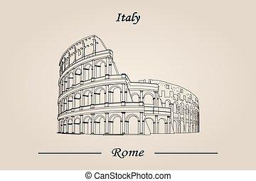 italy., rom, isolerat, illustration, vektor, colosseum