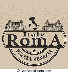 italy roma stamp - background with text italy roma on vector...