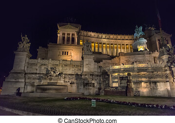 Italy, Rome, 01,01,2018 Monument to Vittorio Emanuele II in the night