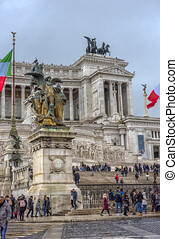 Italy, Rome 01.01,2018 Vittoriano, monument to king Victor Emmanuel II located on Piazza Venezia, Rome, Italy, Europe.