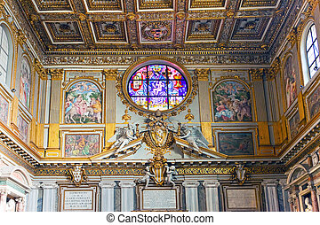 Italy. Rome. Ancient stained-glass windows and list of walls in church Santa Maria maggiore