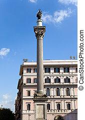 Italy. Rome. Column before Basilica of Santa Maria maggiore