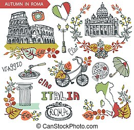 Italy Rome Famous landmarks with autumn leaves wreath compositions, bike, umbrella. Vintage hand drawn doodle sketchy. Italian travell, hello. Coliseum, Vatican, food. Colored Vector. Fall