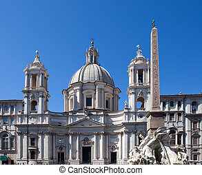 Italy. Rome. Navon Square (Piazza Navona). Fountain of the Four Rivers (Fontana dei Quattro Fiumi) before Saint Agnese in Agone