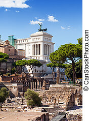 Italy. Rome. Ruins of a forum and Vittoriano
