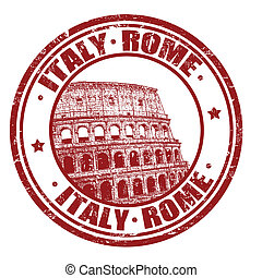 Italy, Rome stamp - Grunge rubber stamp with Colosseum and...
