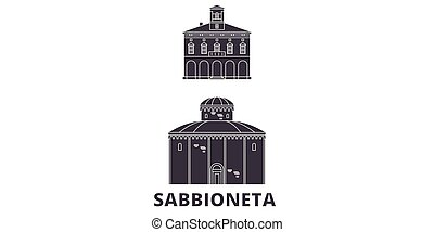 Italy, Sabbioneta flat travel skyline set. Italy, Sabbioneta...
