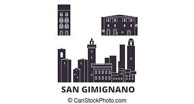 Italy, San Gimignano City flat travel skyline set. Italy,...
