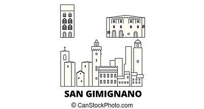 Italy, San Gimignano City line travel skyline set. Italy,...