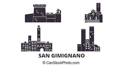 Italy, San Gimignano flat travel skyline set. Italy, San...