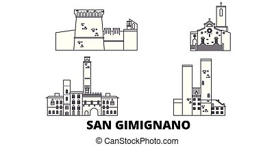 Italy, San Gimignano line travel skyline set. Italy, San Gimignano outline city vector panorama, illustration, travel sights, landmarks, streets.
