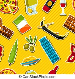 Italy seamless pattern. Italian sticker symbols and objects