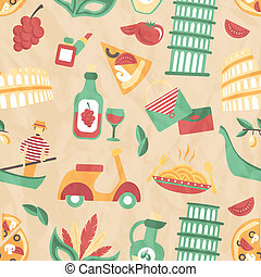 Italy seamless pattern with wine glass gondola olive oil...