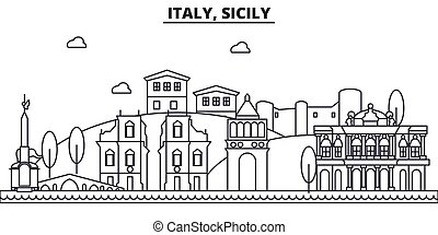Italy, Sicily architecture line skyline illustration. Linear vector cityscape with famous landmarks, city sights, design icons. Landscape wtih editable strokes