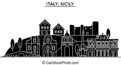 Italy, Sicily architecture vector city skyline, black cityscape with landmarks, isolated sights on background