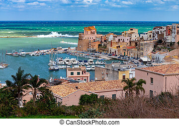 Italy. Sicily. Castellammare del Golfo. - Aerial view of the...