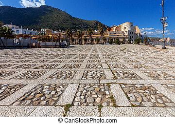 Italy. Sicily. Castellammare del Golfo. - City promenade of ...
