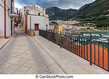 Italy. Sicily. Castellammare del Golfo. - Traditional narrow...