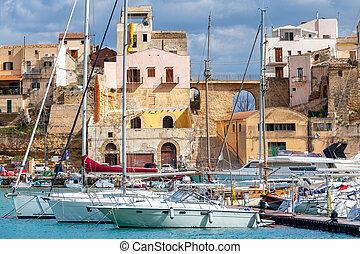 Italy. Sicily. Castellammare del Golfo. - View of the harbor...