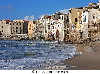 Italy. Sicily island. Cefalu - Italy. Sicily island. View of...
