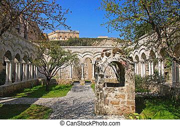 Italy. Sicily island. Palermo city. The monastery courtyard (cloister) of San Giovanni degli Eremiti Church in spring