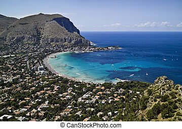 ITALY, Sicily, Palermo, view of Mondello and Tirrenian sea