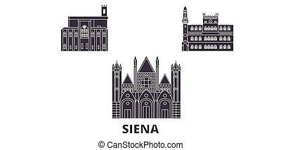 Italy, Siena flat travel skyline set. Italy, Siena black city vector panorama, illustration, travel sights, landmarks, streets.