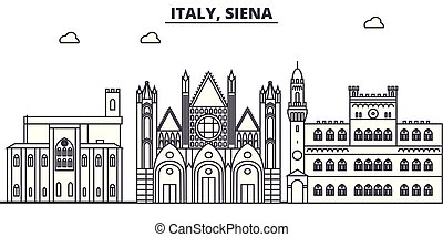 Italy, Siena line skyline vector illustration. Italy, Siena...
