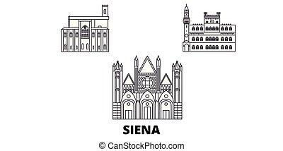 Italy, Siena line travel skyline set. Italy, Siena outline...