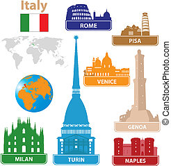 Italy. Silhouettes city. Vector set for you design