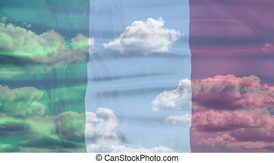 Italy Sky Flag - Waving flag of Italy, green white and red...