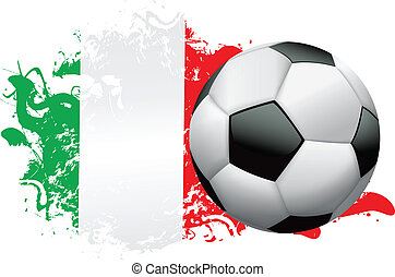 Soccer ball with a grunge flag of Italy. Vector EPS 10 available . EPS file contains transparencies and gradient mesh.