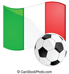 Italy soccer - Illustration of a soccer ball in front of the...