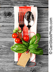 Italy Spoon and Fork Designed with Tomatoes, Basil & Tag