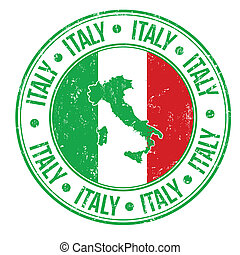 Grunge rubber stamp with Italy flag, map and the word Italy written inside, vector illustration