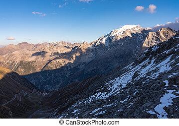 Italy, Stelvio National Park. Famous road to Stelvio Pass in...