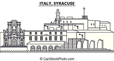 Italy, Syracuse line skyline vector illustration. Italy,...
