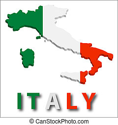 Italy territory with flag texture. Illustration. EPS10