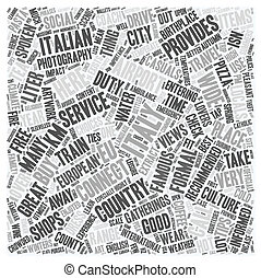 Italy text background wordcloud concept