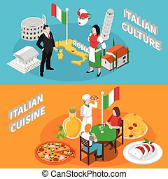 Italy Tourism 2 Isometric Banners Poster