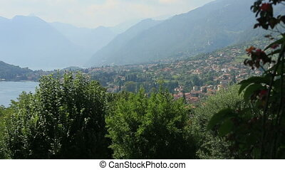 Italy Town Como Landscape of Lake Aerial View