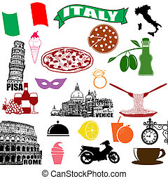 Italy - traditional italian symbols on white background, vector illustration