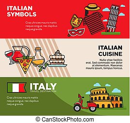 Italy travel destination posters with national symbols and...