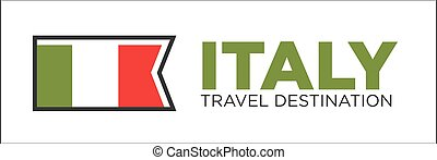 Italy travel destination promotional poster with national flag