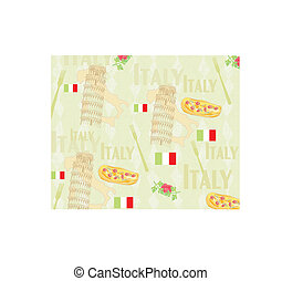 Italy travel seamless pattern with national italian food, sights, map and flag