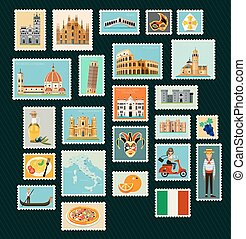 Italy Travel Stamps.