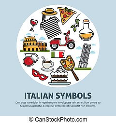 Italy travel symbols and landmarks vector poster