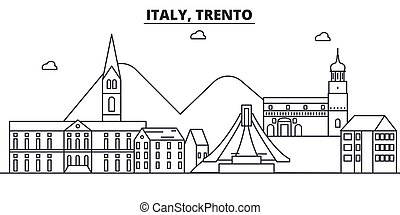 Italy, Trento architecture line skyline illustration. Linear...