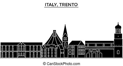 Italy, Trento architecture vector city skyline, travel...