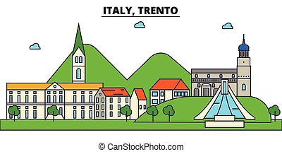 Italy, Trento. City skyline architecture, buildings, streets, silhouette, landscape, panorama, landmarks. Editable strokes. Flat design line vector illustration concept. Isolated icons set